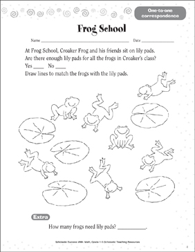 Frog School (One-to-One Correspondence) - Printable Worksheet