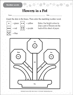 Flowers in a Pot (Number Words) - Printable Worksheet