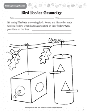 Bird Feeder Geometry (Recognizing Shapes) - Printable Worksheet