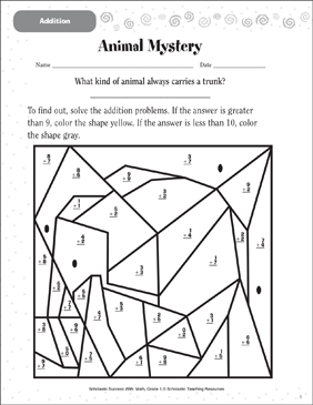 Animal Mystery (Addition) - Printable Worksheet