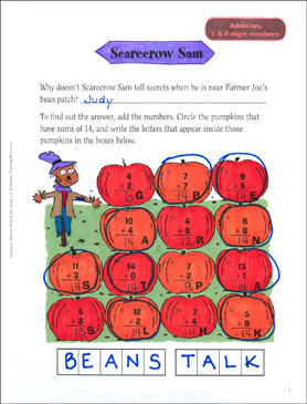 Scarecrow Sam (Addition, 1 & 2 Digits) - Printable Worksheet