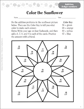 Color the Sunflower (Addition, 2 Digits) - Printable Worksheet