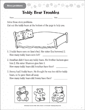 Teddy Bear Troubles (Story Problems) - Printable Worksheet