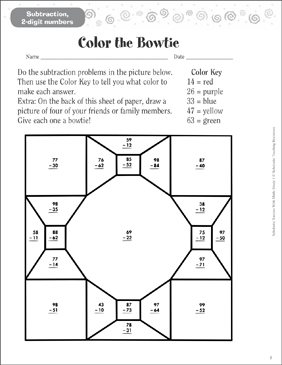 Color the Bowtie (Subtraction, 2 Digits) - Printable Worksheet