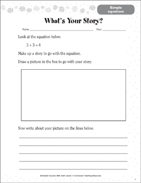 What's Your Story? (Simple Equations) - Printable Worksheet