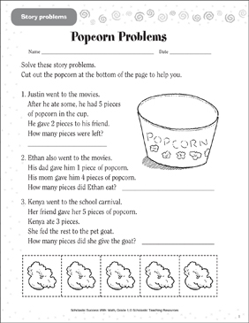 Popcorn Problems (Story Problems) - Printable Worksheet