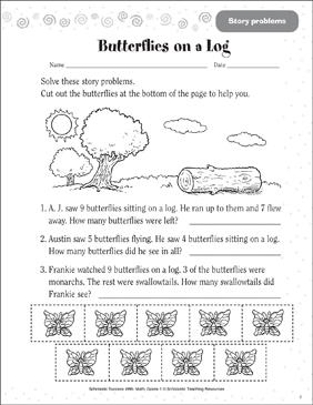 Butterflies on a Log (Story Problems) - Printable Worksheet