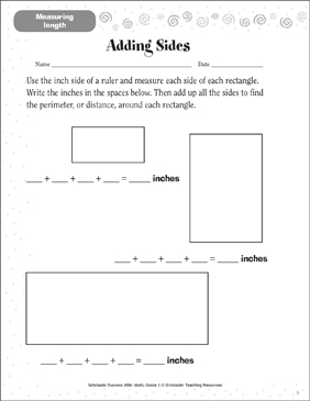 Adding Sides (Measuring Length) - Printable Worksheet