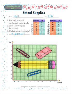 School Supplies (Simple Ordered Pairs) - Printable Worksheet
