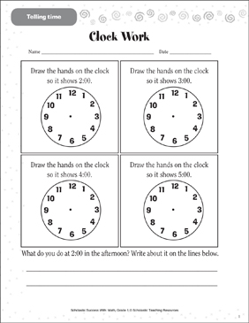 Clock Work (Telling Time, Estimating Time) - Printable Worksheet