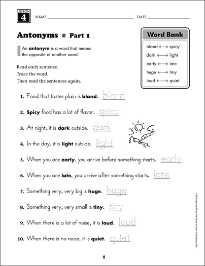 Antonyms: Grade 2 Vocabulary - Printable Worksheet