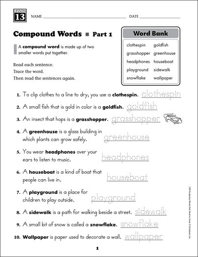 Compound Words (Content Words): Grade 2 Vocabulary - Printable Worksheet