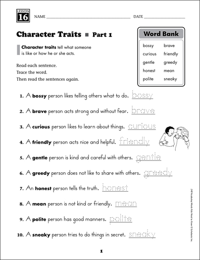 Character Traits (Content Words): Grade 2 Vocabulary - Printable Worksheet