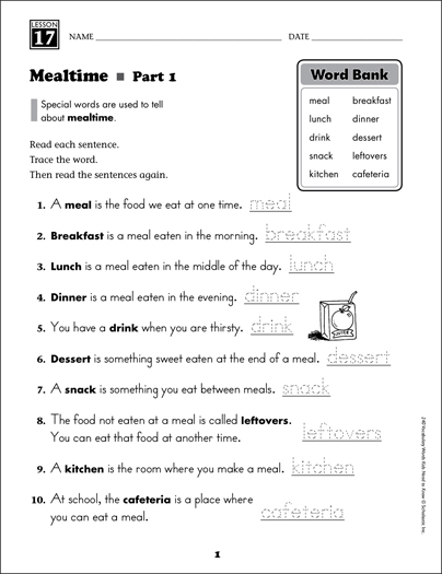 Mealtime (Content Words): Grade 2 Vocabulary - Printable Worksheet