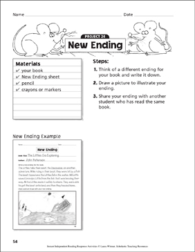 New Ending Writing Prompt - Printable Worksheet