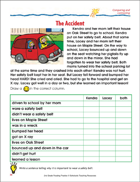 the accident reading passage and activity comparing and contrasting printable skills sheets. Black Bedroom Furniture Sets. Home Design Ideas