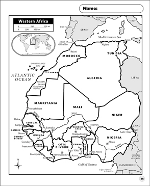 photograph about Printable Maps of Africa titled Western Africa Map Printable Maps and Capabilities Sheets