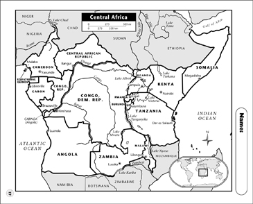 picture about Printable Africa Map identified as Central Africa Map Printable Maps and Capabilities Sheets