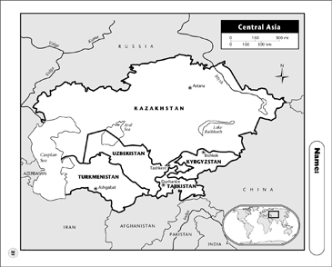 Map Of Asia Outline Printable.Central Asia Map Printable Maps And Skills Sheets