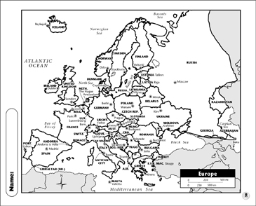 graphic regarding Europe Printable Map named Political Map - Europe Printable Maps and Competencies Sheets