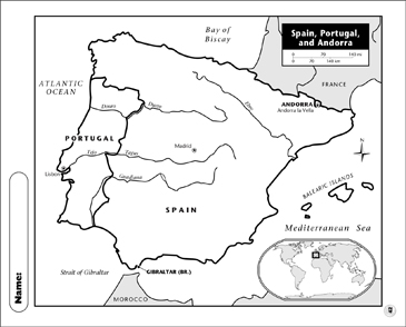 Printable Map Of Spain.Spain Portugal And Andorra Map Printable Maps And Skills Sheets