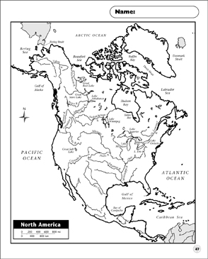 Political Map North America Printable Maps And Skills Sheets