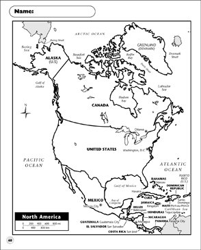 image relating to Printable Map of North America named Political Map - North The usa Printable Maps and Capabilities Sheets