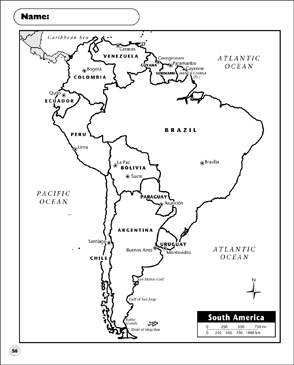 Political Map South America Printable Maps And Skills Sheets
