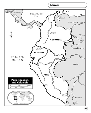 picture regarding Printable Map of Peru named Peru, Ecuador, and Colombia Map Printable Maps and Competencies