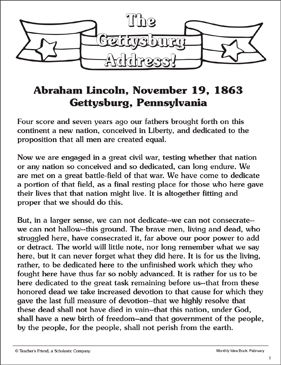 picture relating to Gettysburg Address Printable called The Gettysburg Cover: Reference Site Printable Texts and