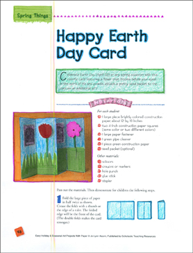 Happy Earth Day Card: Spring Art Project - Printable Worksheet