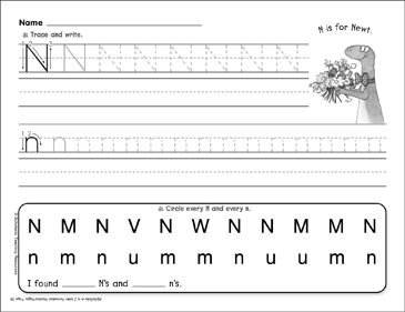 N is for Newt: Letter Formation Practice | Printable Skills ...