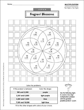 Japan: Fragrant Blossoms (Multiplication) | Printable Skills ...