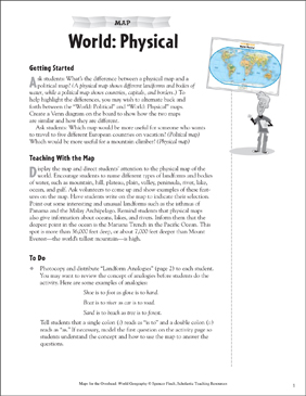 World Reading A Physical Map Printable Maps And Skills Sheets - World physical map printable