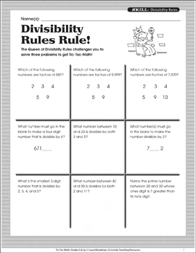 photograph relating to Divisibility Rules Printable referred to as Divisibility Tips Rule! Tic-Tac-Math Printable Game titles