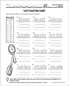 Refreshing image in crack the code worksheets printable