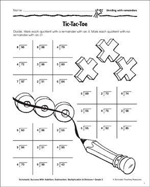 image relating to Tic Tac Toe Printable identify Tic-Tac-Toe (Dividing With Remainders) Printable Competencies