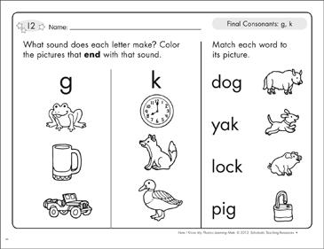 Final Consonants G K Phonics Learning Mats Printable Skills Sheets