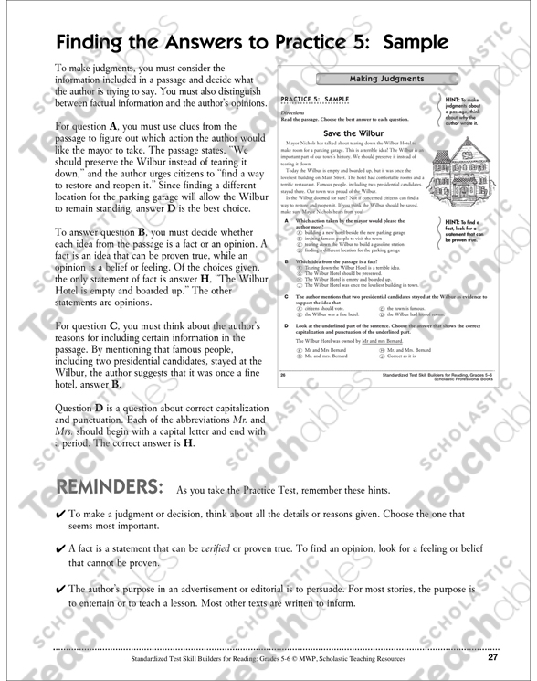 Standardized Test Skills Making Judgments Printable Prep. See Inside. Worksheet. Making Judgements Worksheets At Mspartners.co