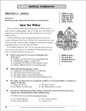 Standardized Test Skills: Making Judgments - Printable Worksheet