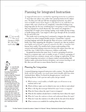 Planning for Integrated Instruction: New Teacher Resources (K-4) - Printable Worksheet