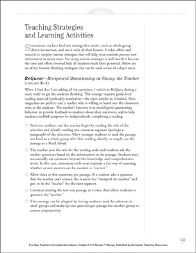 Teaching Strategies and Learning Activities: New Teacher Resources (K-4) - Printable Worksheet