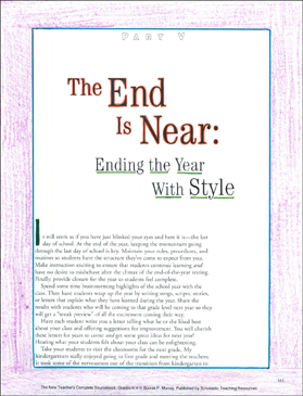 The End Is Near (Ending the Year With Style): New Teacher Resources (K-4) - Printable Worksheet