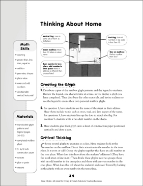 Thinking About Home: All About Me Glyph Activity - Printable Worksheet