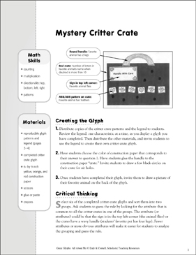 Mystery Critter Crate: All About Me Glyph Activity - Printable Worksheet