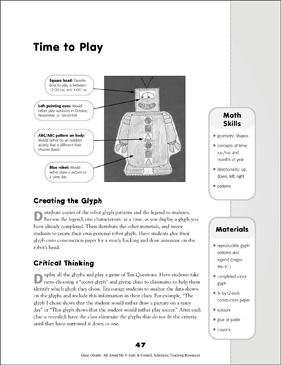 Time to Play: All About Me Glyph Activity - Printable Worksheet