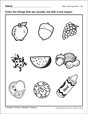 Learning the Color Red: Kindergarten Basic Skills - Printable Worksheet