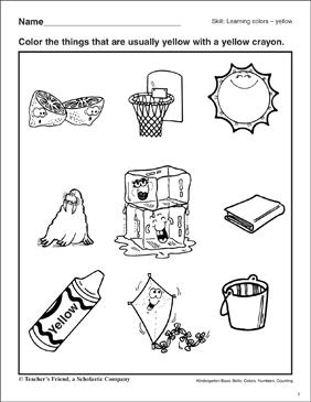 Learning the Color Yellow: Kindergarten Basic Skills | Printable ...