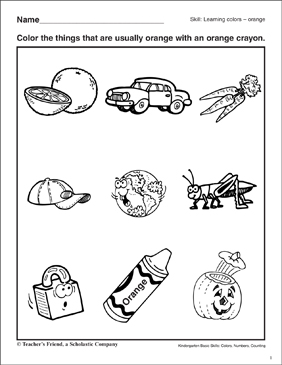Learning the Color Orange: Kindergarten Basic Skills - Printable Worksheet