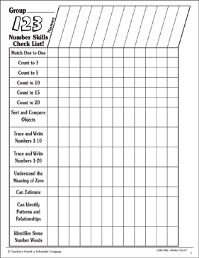 Counting: Teacher's Number Skills Check List - Printable Worksheet